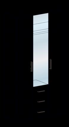 Шкаф 3-х ств с ящиками Яна ШК-752 венге - белфорт