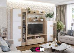Модульная гостиная Афина дуб сонома - белый глянец композиция-1