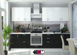 Кухня Дина ЛДСП Белый-Черный принт Комплект 3,0м