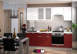 Кухня Глория МДФ белый - гранат металлик комплект 2,4м