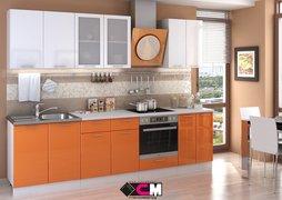 Кухня Ксения МДФ белый - оранж комплект 3,0м