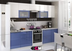 Кухня Ксения МДФ Белый-Сизый Комплект 2,8м