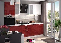 Кухня Линда МДФ белый металлик - гранат металлик комплект 2,6м