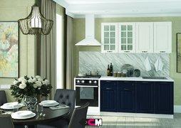 Кухня Мария МДФ дуб белый - синий комплект 1,6м