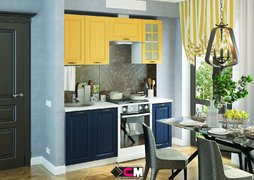 Гарнитур кухонный Мария МДФ желтый - синий комплект 1,8м