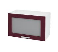 Шкаф верхний под вытяжку со стеклом Линда ШВГС 600 МДФ белый металлик