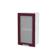 Шкаф верхний со стеклом Линда ШВС 400 МДФ белый металлик