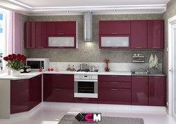 Кухня угловая Ксения МДФ Бордо Комплект 3,6х1,7м