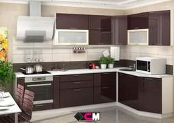 Кухня угловая Ксения МДФ Ваниль-Шоколад Комплект 2,9х1,7м