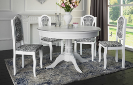 Обеденный стол Барокко белый - патина серебро