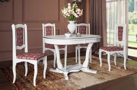 Стол обеденный Лотос-3 белый - патина серебро