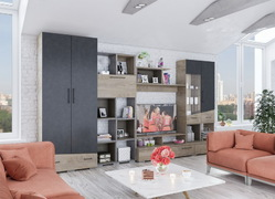 Модульная гостиная Паскаль дуб эндгрейн - ясень анкор темный
