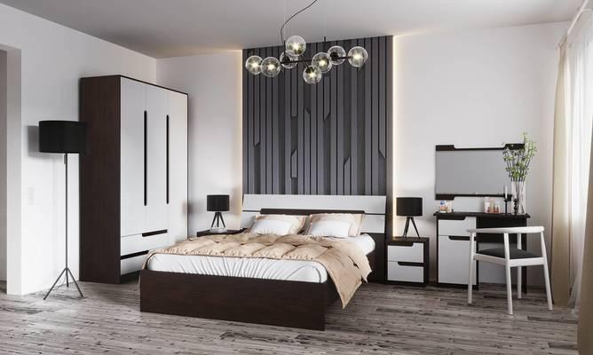 Модульная спальня Гавана венге - акрил белый комплект-1