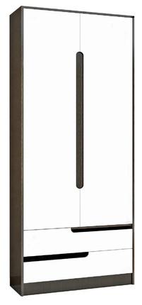 Шкаф 2-х створчатый Гавана венге - акрил белый