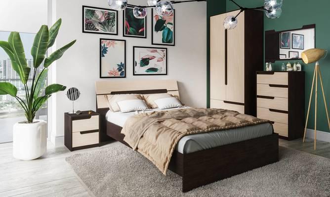 Модульная спальня Гавана венге - дуб молочный комплект-1