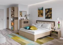 Спальня Мадлен дуб сонома - дуб шале мореный комплект-2