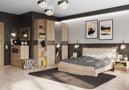 Спальня Мадлен дуб сонома - дуб шале мореный комплект-3