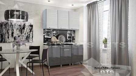 Кухня Титан 1,5м черный мрамор