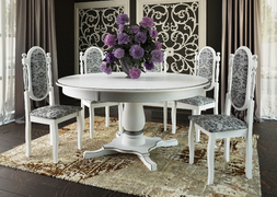 Стол обеленный Турин-6 белый - патина серебро