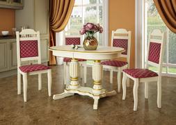 Стол обеденный Венеция-3 белый - патина золото