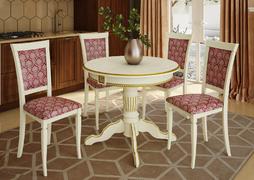 Стол обеденный Верона-4 слоновая кость - патина золото